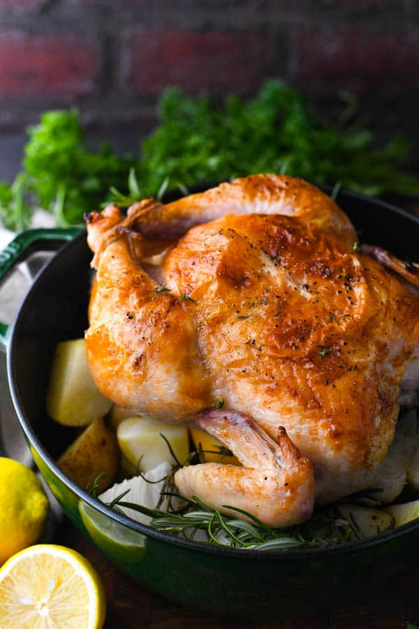 Side shot of the best roast chicken in a Dutch oven