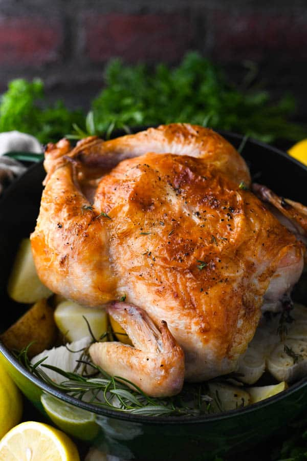 Salt brined whole roasted chicken in a dutch oven with potatoes