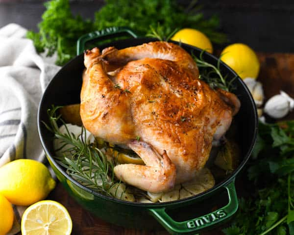 Horizontal shot of simple whole roasted chicken in a dutch oven