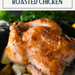 Roasted chicken and potatoes with text title box at top