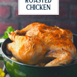 Whole roasted chicken in a Dutch oven with text title overlay