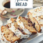 Sliced loaf of fresh cherry bread recipe with text title overlay