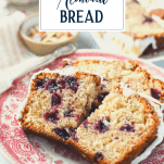 Slice of almond cherry bread with text title overlay