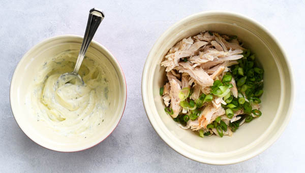 Process shot showing how to make the best chicken salad recipe with shredded rotisserie chicken