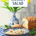 Bowl of homemade chicken salad with text title overlay
