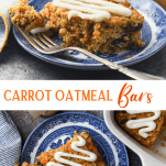 Long collage image of carrot oatmeal bars.