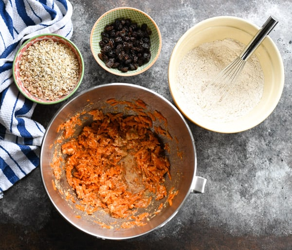 Overhead shot of ingredients for baked oatmeal bars.