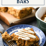 Baked oatmeal bars on a plate with text title overlay