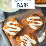 Overhead shot of baked oatmeal bars with text title overlay
