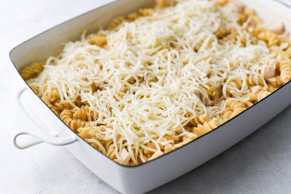 Adding cheese on top of a creamy chicken pasta casserole
