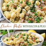 Long collage image of creamy chicken pasta