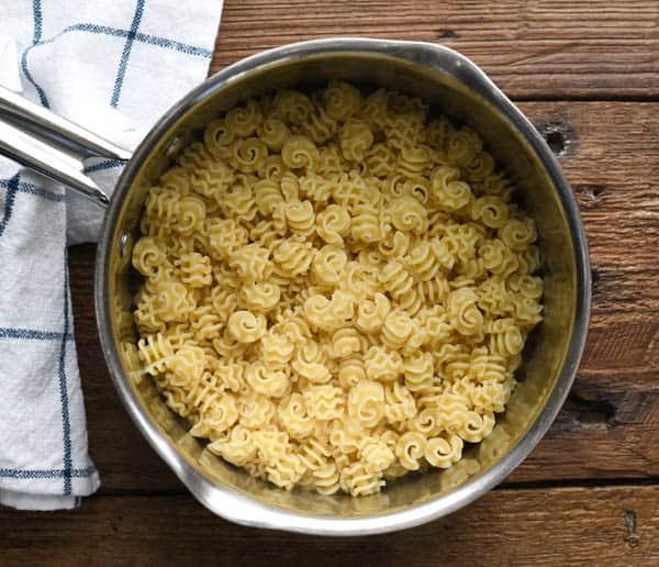 Pot of cooked radiatore pasta