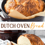 Long collage image of Dutch oven bread