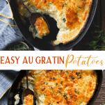 Long collage image of Easy Au Gratin Potatoes recipe