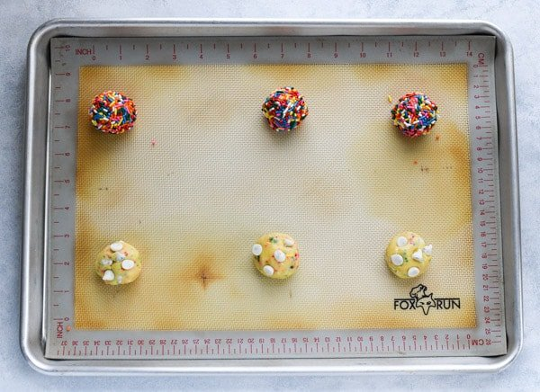 Overhead shot of a tray of funfetti cookie dough