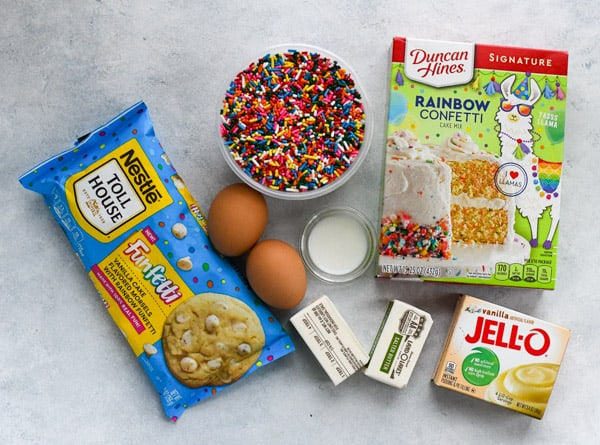 Overhead shot of ingredients for funfetti chip cookies