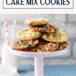 Pink tray of funfetti cookies with text title box at top