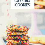 Stack of funfetti cake mix cookies with text title overlay