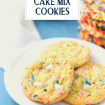 White plate with funfetti cookies and text title overlay
