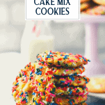 Stack of funfetti cookies with text title overlay