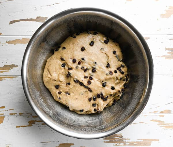 Overhead shot of a bowl of easy hot cross buns recipe dough