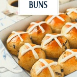 Close up shot of a tray of easy hot cross buns with text title overlay
