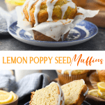Long collage image of Lemon Poppy Seed Muffins