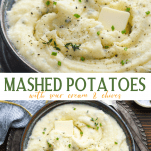 Long collage image of mashed potatoes with sour cream