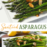 Long collage image of sauteed asparagus