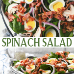 Long collage image of spinach salad with bacon