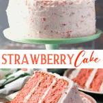 Long collage image of strawberry cake