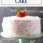 Fresh strawberry cake on a cake stand with text title box at top