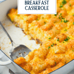 Close up side shot of tater tot breakfast casserole with text title overlay