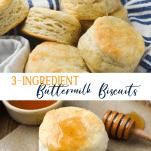 Long collage image of 3 ingredient biscuit recipe