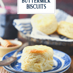 3 ingredient buttermilk biscuit on a plate with text title overlay