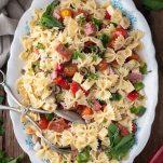 Overhead shot of a big platter of antipasto pasta salad