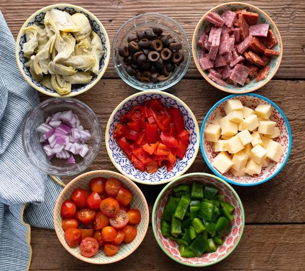 Ingredients for antipasto pasta salad