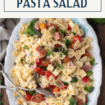 Overhead image of a bowl of cold antipasto pasta salad with text title box at top