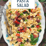 Overhead image of a tray of antipasto pasta salad with text title overlay