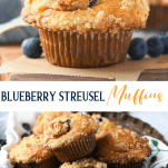 Long collage image of Blueberry Streusel Muffins