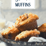 Basket of blueberry streusel muffins with text title overlay