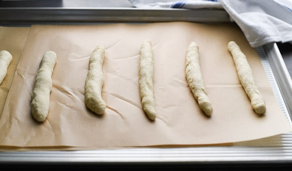 Process shot showing how to make a breadstick recipe