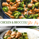 Long collage image of chicken and broccoli stir fry