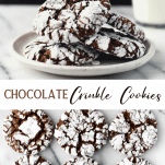 Long collage image of Chocolate Crinkle Cookies