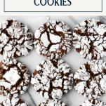 Overhead shot of brownie chocolate crinkle cookies with text title box at top