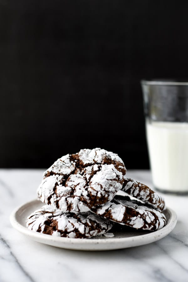 Plate of the best chocolate crinkle cookies with cake mix