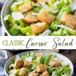 Long collage image of Classic Caesar Salad recipe