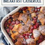 Overhead image of Croissant French Toast Breakfast Casserole with text title box a top