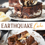 Long collage image of earthquake cake