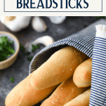 Bundle of Olive Garden Breadsticks with text title box at top